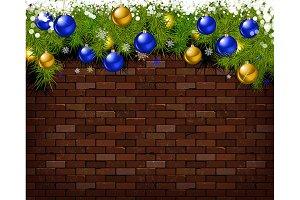 Christmas balls and fir branches