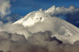 Scenery winter volcano landscape of