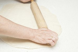kneading dough for bread