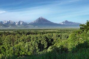 Summer landscape: view of volcanoes