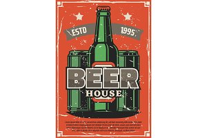 Brewery poster, craft beer bottle