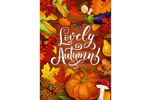 Lovely autumn with pumpkin and leaf