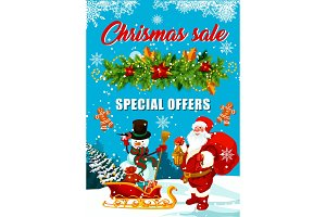 Christmas sale banner with Santa