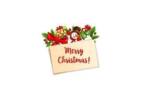 Merry Christmas snowman vector