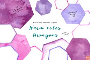 Purple Watercolor Hexagons