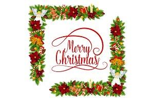 Merry Christmas holly wreath