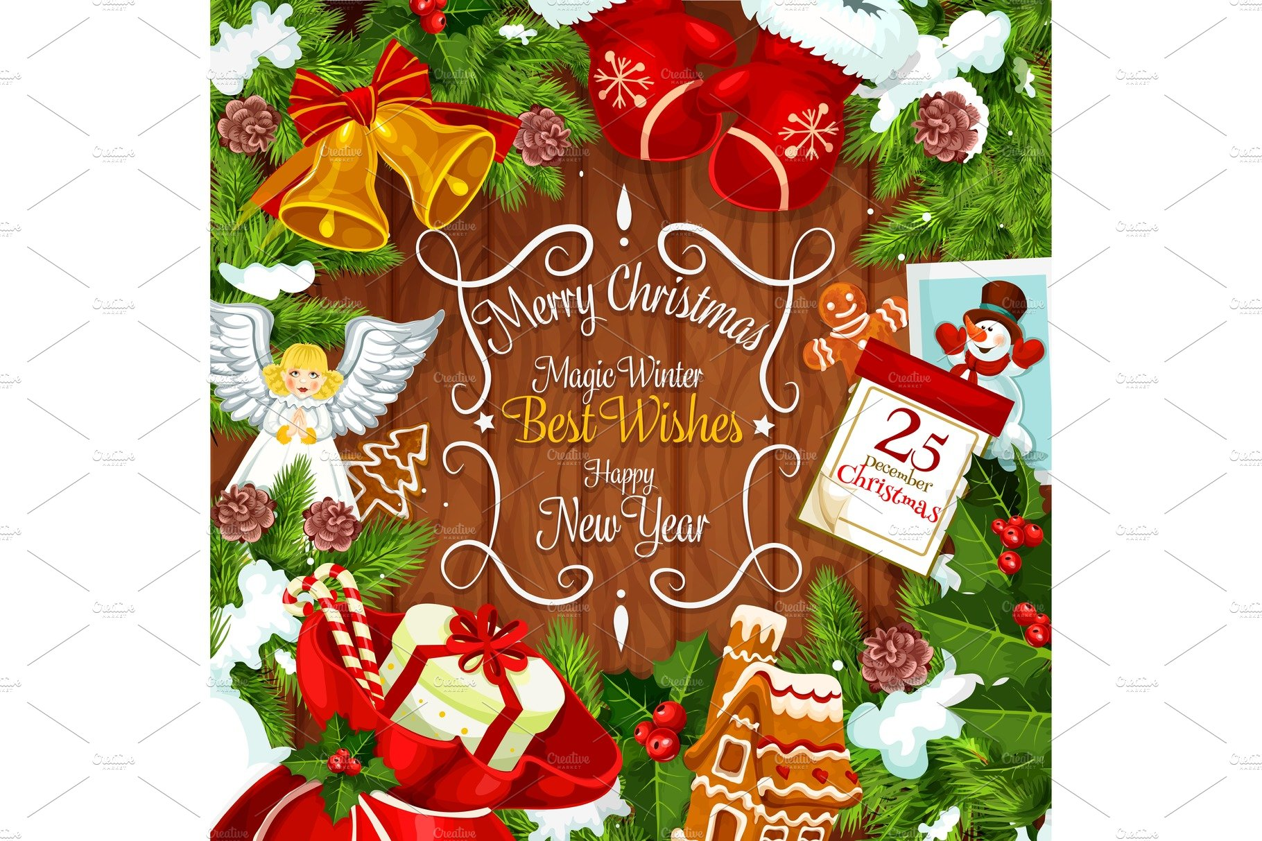 Christmas Wreath Card With Gifts Illustrations Creative Market