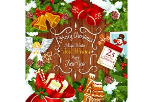 Christmas wreath card with gifts