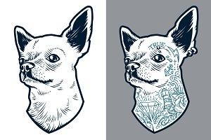 Tattooed Chihuahua | Vector Art