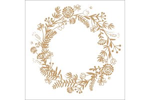 Hello Autumn hand drawn wreath