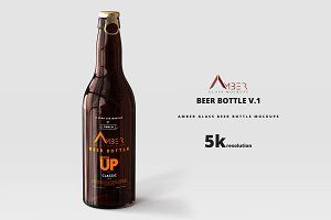 Amber Glass Beer Bottle Mockup 01