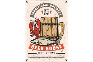 Beer brewery house retro poster