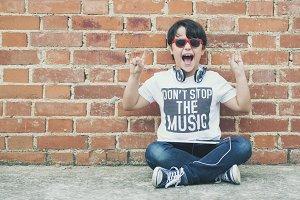 child with headphones
