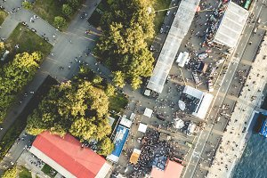 aerial view of people crowd on summe