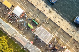 top aerial view of people crowd on s