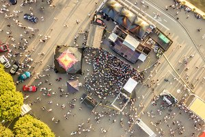 aerial top view of crowd of people s