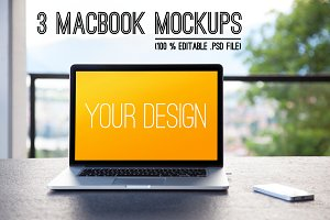 3 MacBook MockUps