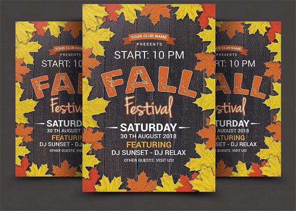fall festival flyer flyer templates creative market
