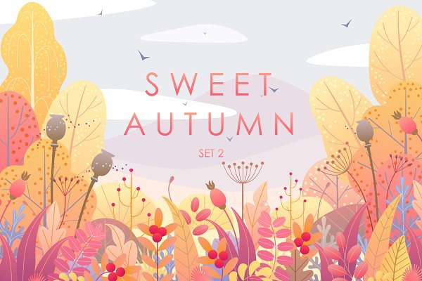 Illustrations and Illustration Products: Valentyna Smordova - Autumn Landscapes and Foliage Decor