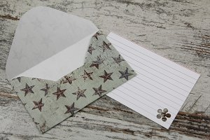Handmade envelope and blank letter