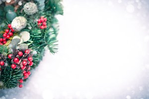 Christmas wreath isolated on a white