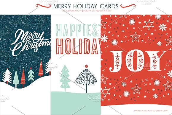 merry holiday cards 3 printable illustrations - Merry Christmas Cards Printable