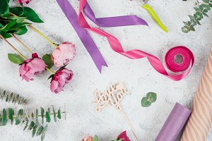 Floristic flat lay with flowers