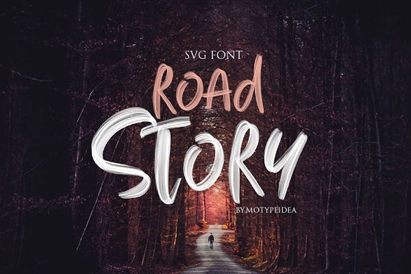 Display Fonts: motypeidea - ROAD STORY + SVG Font