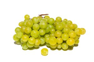 Green grapes isolated on white.