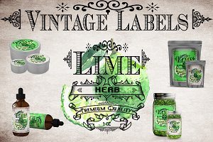 Lime Vintage Labels