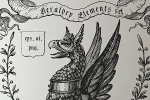 HandDrawn Heraldry Elements Set