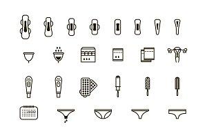 Feminine hygiene products icon set