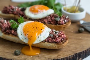 Beef tartare with pickled fried egg