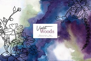 Violet woods watercolor design kit