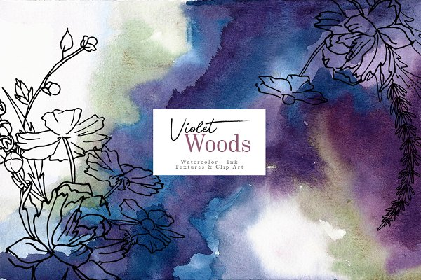 Violet woods watercolor design kit