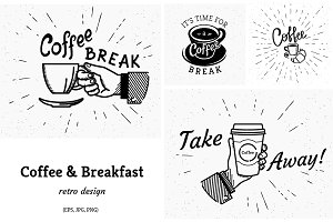 Retro coffee break vectors pack