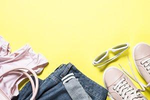 Woman fashion cloth set shoes, top