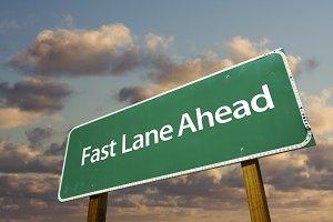 Fast Lane Ahead Green Road Sign