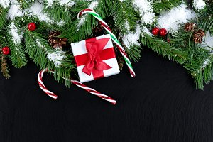 Christmas on Dark Stone background