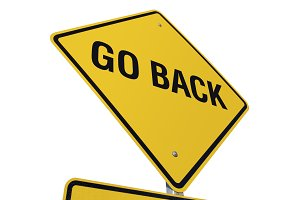 Yellow Go Back Road Sign Isolated