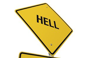 Yellow Hell Road Sign Isolated