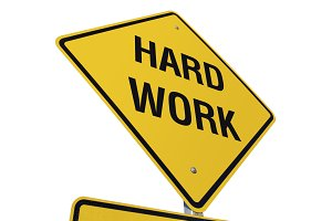 Yellow Hard Work Road Sign Isolated