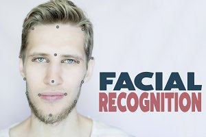 young bearded man facial  and eye re