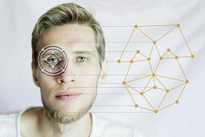 biometric man face scan identifying