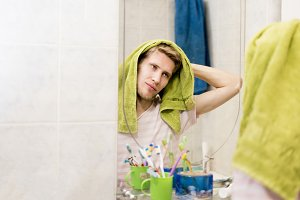 handsome bearded man with towel, dry
