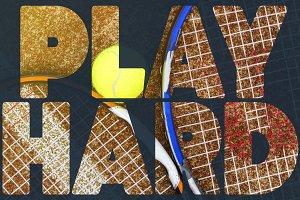 tennis banner text concept design. t