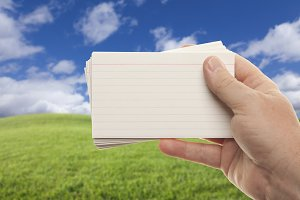 Male Hand Holds Stack of Flash Cards