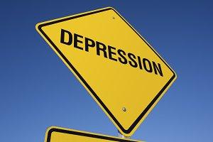 Depression Yellow Road Sign