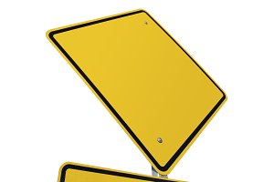 Blank Yellow Road Sign Isolated