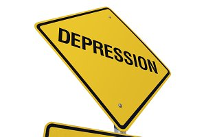 Yellow Depression Road Sign Isolated